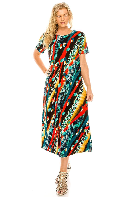 W175 Coral Jostar Women's Stretchy Long Dress Short Sleeve Print