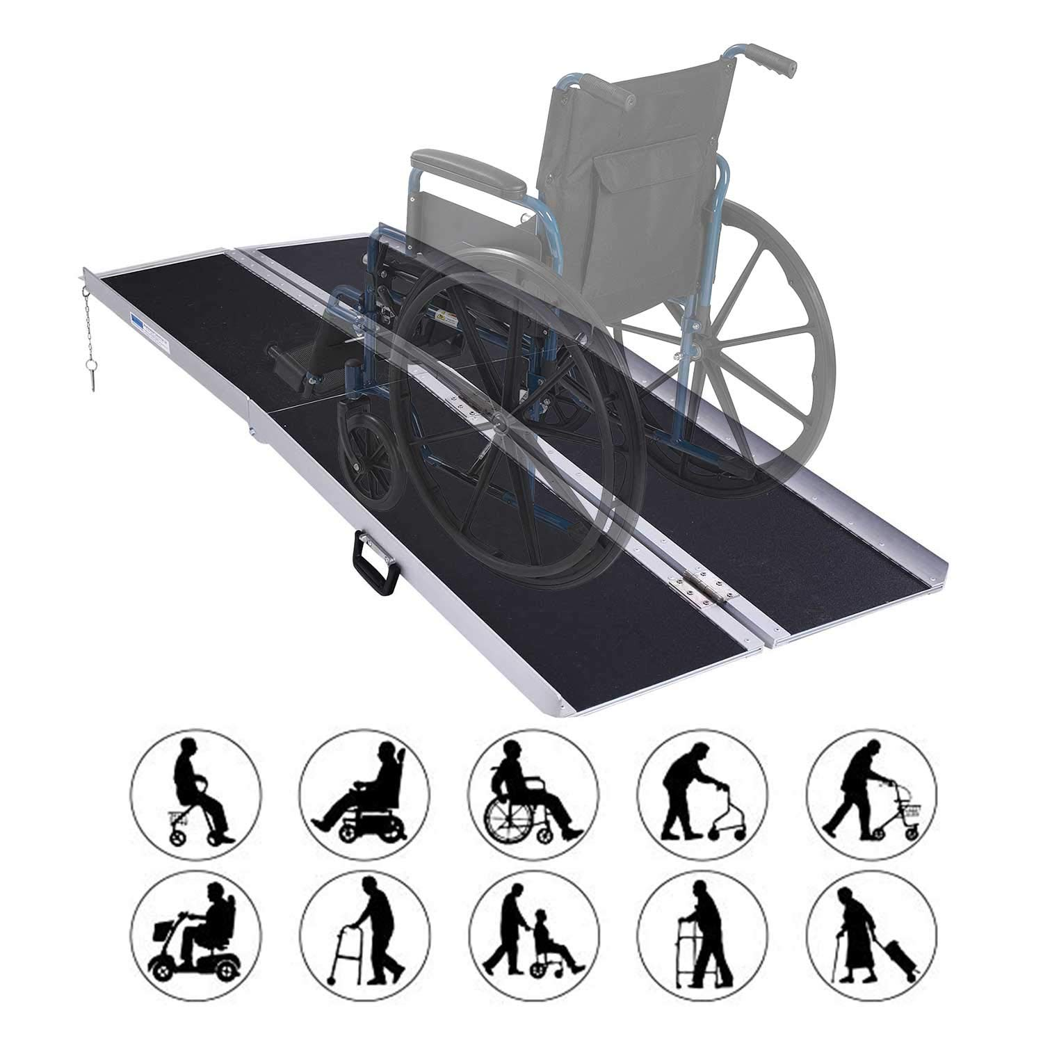 Forfar 6 Feet Wheelchair Ramp Aluminum Multifold Non-Skid Folding Mobility Scooter Portable Traction Ramp with Carrying Handle