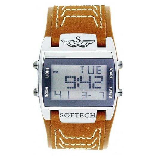 Softech Hombre Reloj Digital Reloj Ancho Tan Brown Correa Sportswatch Rectangular Cara Cuarzo Extra Batería: Amazon.es: Relojes