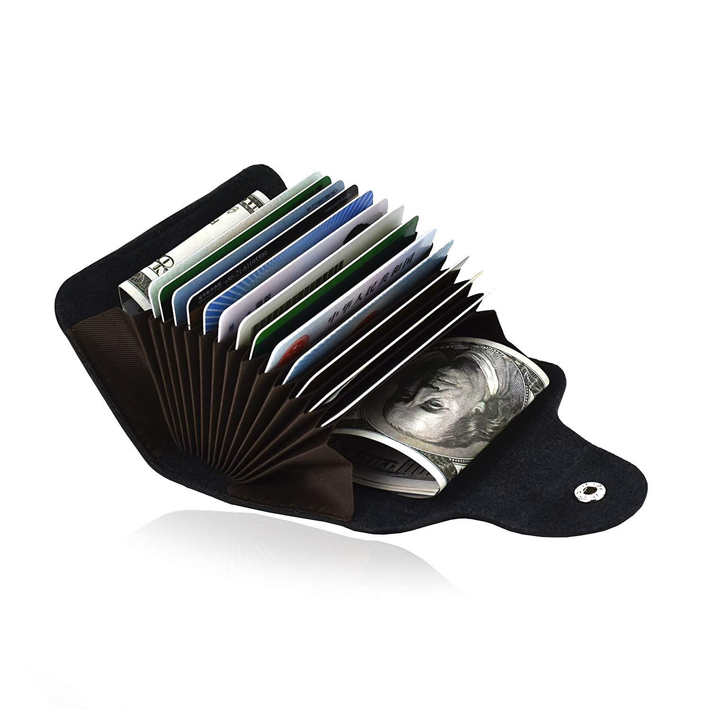 Porta Carte di Credito Porta Monete Piccole in pelle vera Portafoglio per uomo donna-Nero PM-1