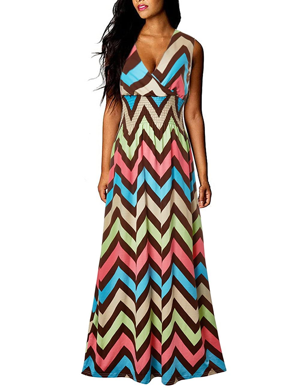 Tr/ès Chic Mailanda Sommerkleid Damen Partykleid Lang Chiffon High Waist Striped Sleeveless Beach Kleid Elegant