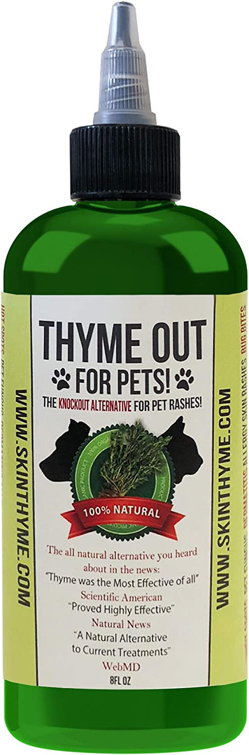 Thyme Out for Pets (8oz) - Natural Dog and Cat Skin Treatment for Itchy Paws and Ringworm - Yeast Infection, Dandruff and Hot Spot Spray for Dogs - Organic Blend with Easy-to-Use Dispenser Tip