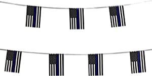 TSMD 100 Feet Thin Blue Line USA American Police Flag Small Mini Honoring Law Enforcement Officers US Flags Polyester Flags Banner,Police Theme Party Event Decorations