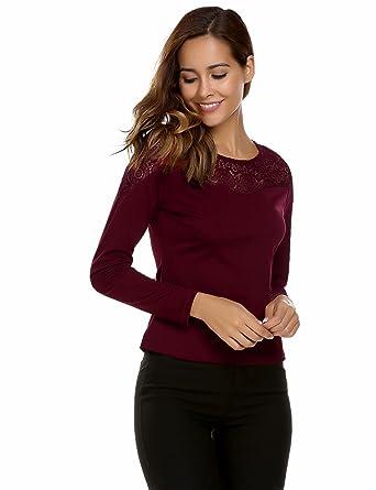 7d7a57a70b2457 Zeagoo Damen Elegant Langarmshirt Bluse aus geblümte Spitzenshirt OL ...
