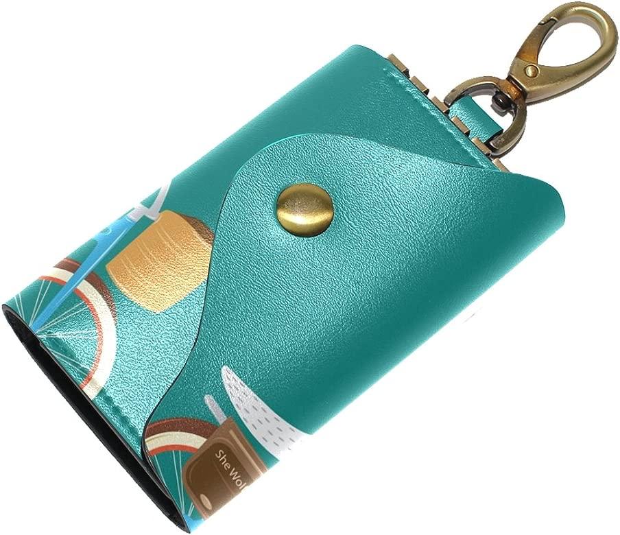 DEYYA Cats Stars Leather Key Case Wallets Unisex Keychain Key Holder with 6 Hooks Snap Closure