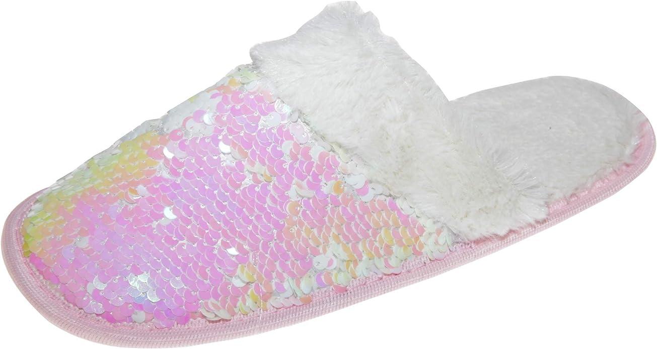 Slumberzzz Womens//Ladies Faux-Fur Bow Slider Slippers SL678