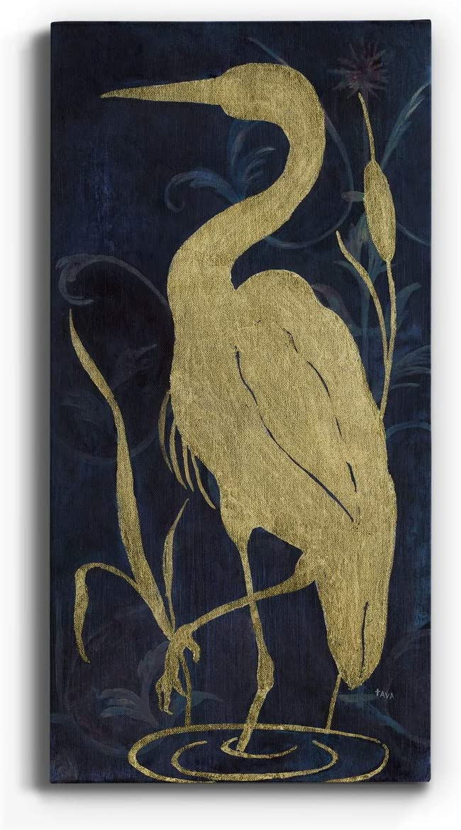 Neutral Color Wall Art, Wall Décor Canvas, Beaches, Floral, Animals, Southwestern, & Vintage Styles, Ready to Hang -Egret on Indigo II 12X24