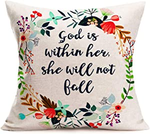 "Fukeen Christian Quotes Throw Pillow Covers Colorful Flowers Wreath with Bible Verses Proverbs Decorative Cushion Cover Pillow Cases Church Offices Home Decor Cotton Linen 18""x18"" Pillowcase"