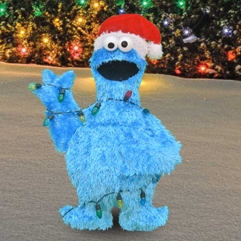 productworks inch pre lit sesame street cookie monster in lights christmas yard decoration lights garden outdoor - Sesame Street Outdoor Christmas Decorations