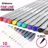 Fineliner Color Pen Set, 0.38mm Fine Line Drawing Pen, Porous Fine Point Markers Perfect for Coloring Book and Bullet Journal Art Projects, 10 Colors