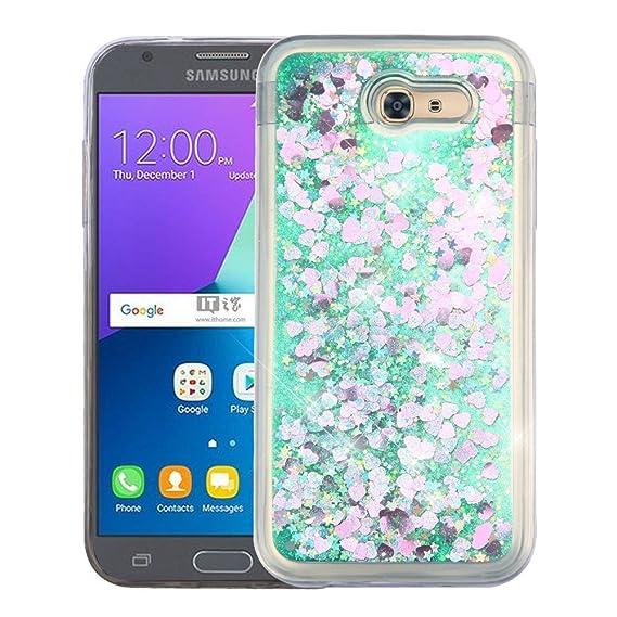 Amazon com: Samsung Galaxy J3 Eclipse Case - Liquid Glitter