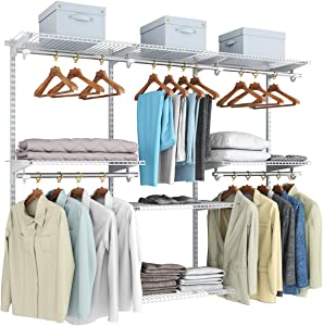 Tangkula 4 to 6 FT Custom Closet System, Wall Mounted Closet Maid with Hanging Rod, Metal Hanging Storage Organizer Rack Wardrobe with Shelves, Adjustable Closet System Kit for Bedroom