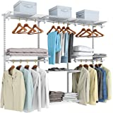 Tangkula 4 to 6 FT Custom Closet Organizer System, Wall Mounted Closet System with Hanging Rod, Metal Hanging Storage…