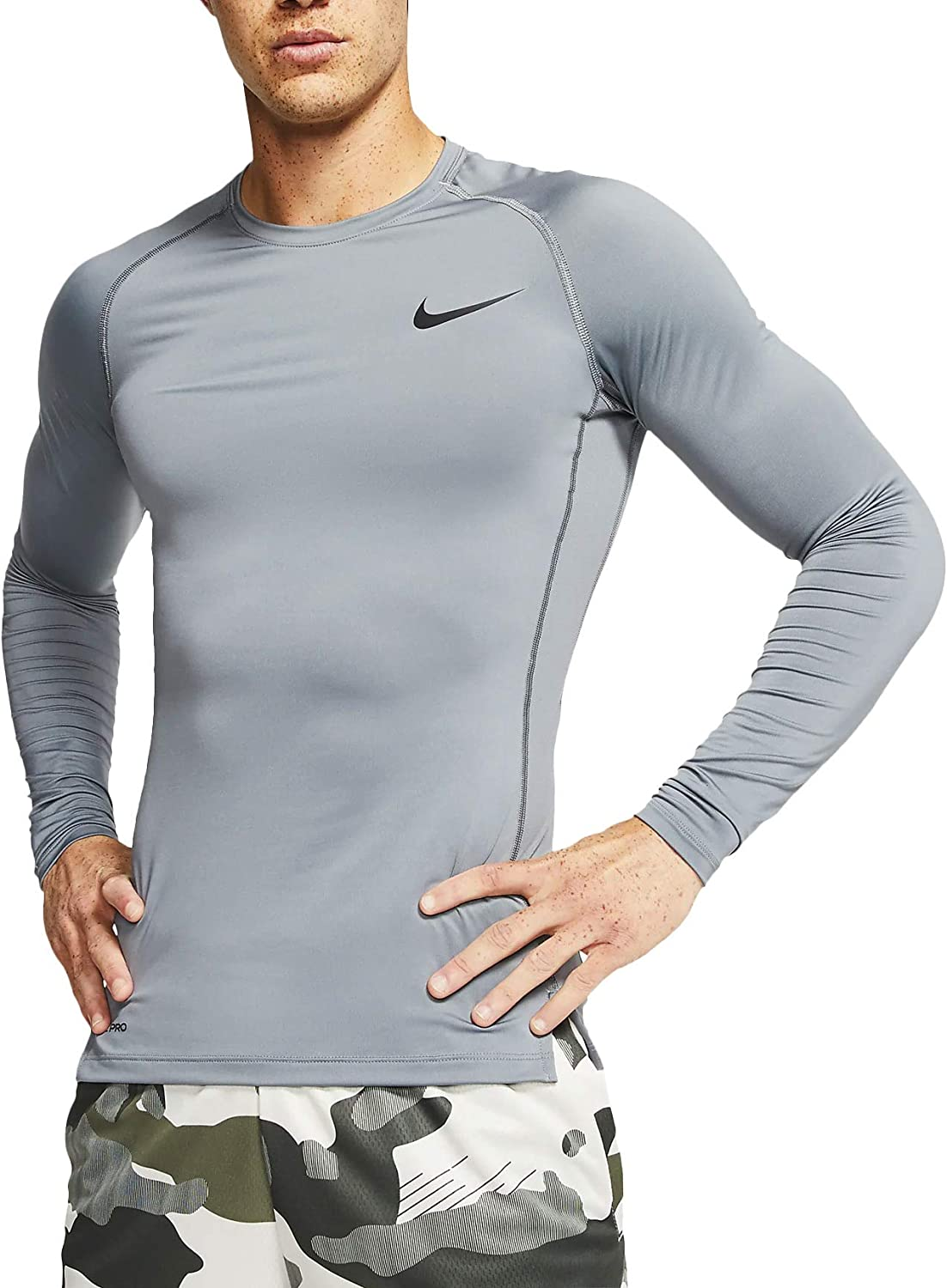 Intrattenere Sputare forare  Nike Pro Mens Long Sleeve Dri-Fit Training Shirts Top BV5588-084 Size XLT  at Amazon Men's Clothing store