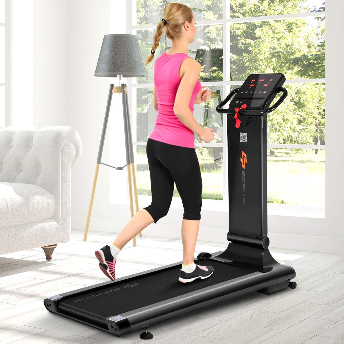 Goplus 1.5HP Electric Folding Treadmill Portable Motorized Running Machine Home Gym Cardio Fitness w/App (Black) by Goplus (Image #3)