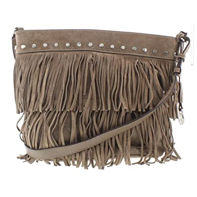 7d25d12e58cd87 ... wholesale michael kors womens billy suede fringe crossbody handbag  taupe medium 5d9af 02484
