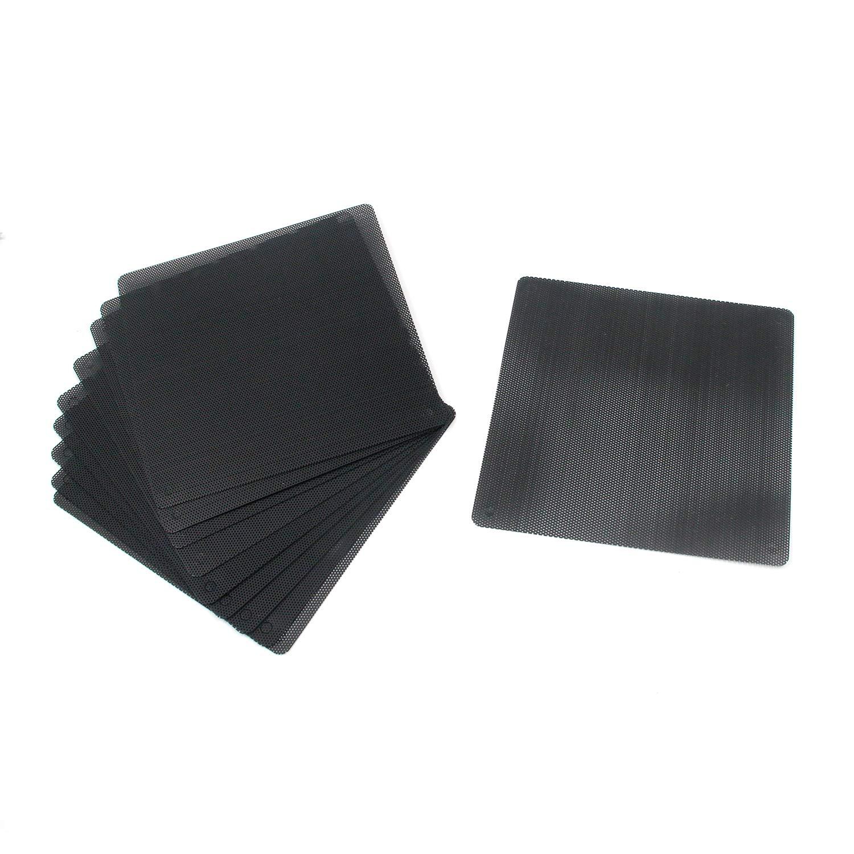 Karcy Fan Dust Filter Computer Fan Grill PVC Mesh 90x90mm/3.54x3.54 (LxW) Black Set of 10