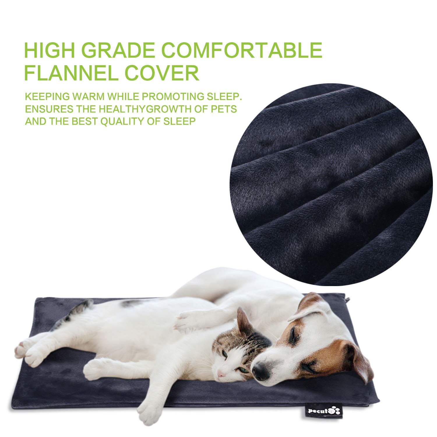 Pecute Pet Heating Pad Medium 40 x 50 cm,Electric Heat Mat Waterproof with Removable Flannel Cover for Large Cats Medium Dogs