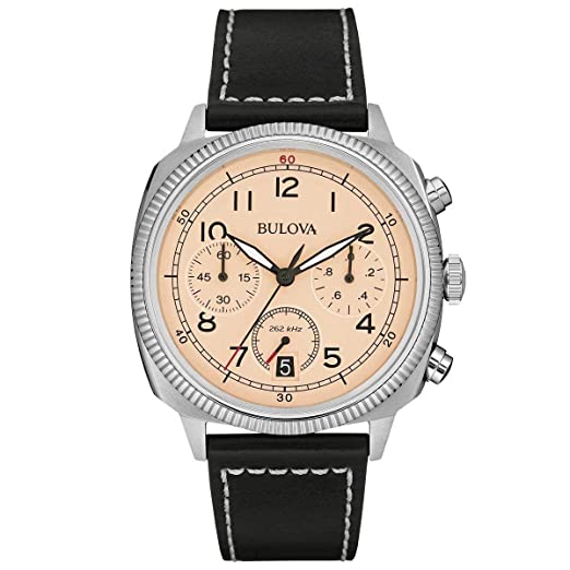 Bulova Militar - Reloj UHF para Hombre con Esfera analógica, dial Beige y Correa de Piel Negra: Bulova: Amazon.es: Relojes