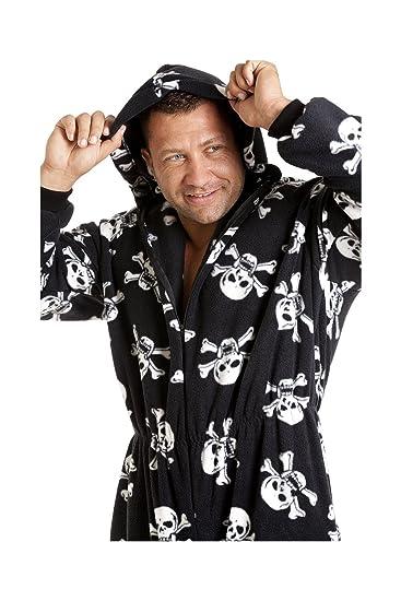 Camille Classic para hombre todo en uno negro y blanco estampado de calavera bolsillos forro polar Onesie pijamas tamaño S-5 X L: Amazon.es: Ropa y ...