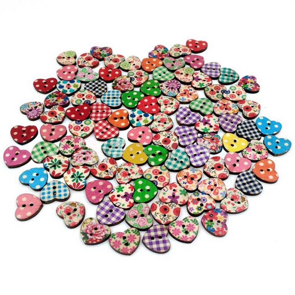 100PSC bottoni in legno a forma di cuore pulsanti 2fori Colorflu bottoni per cucire e crafting DIY Craft Gespout