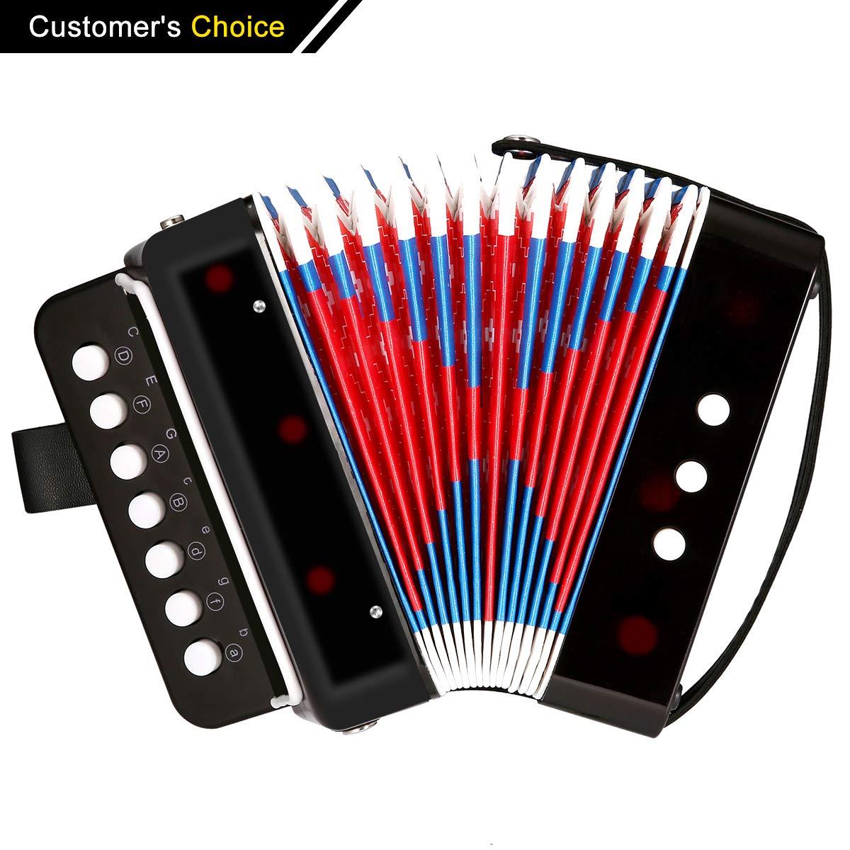 Acordeón negro, NASUM Mini Pequeño Acordeón del botón 10-Key Instrumento Musical Educativo Juguete de Rhythm Band para Niños NASUMpoxiglqefi94