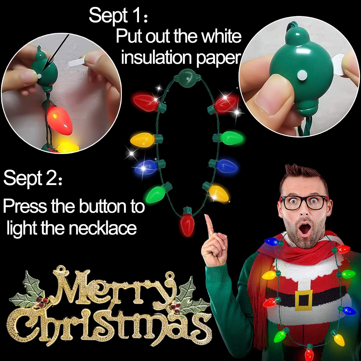 JenWin 10Pcs Christmas Light Up LED Necklaces Christmas Bulb Necklace 90 LEDs 6 Flashing Modes Bulbs Necklace String Lights for Kids Parties Home Party Supplies Christmas Tree Decoration Party Favor