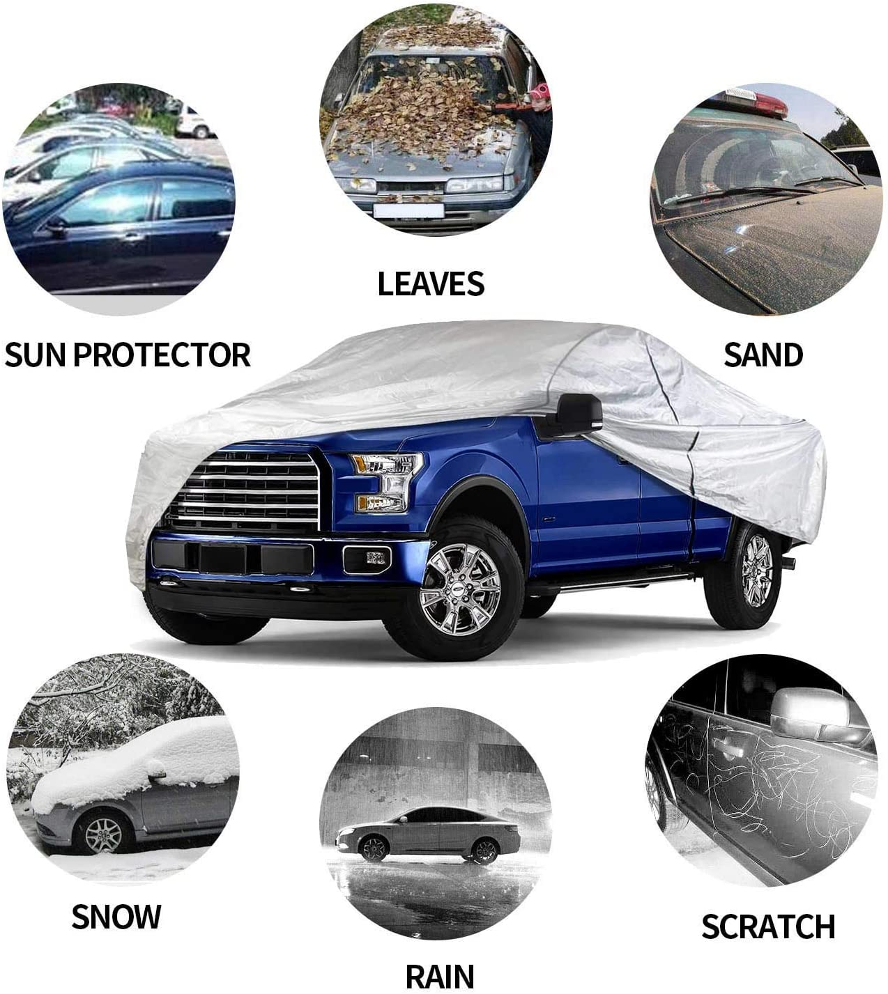 Car Covers Outdoor Auto Vehicle Covers UV Protection Waterproof Windproof Dust-Proof Scratch Resistant Universal Car Covers for Sedan 200
