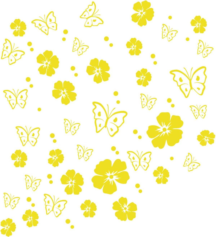 Kleb Drauf 19 Blüten 19 Schmetterlinge Und 42 Punkte Gelb Matt Autoaufkleber Autosticker Decal Aufkleber Sticker Auto Car Motorrad Fahrrad Roller Bike Deko Tuning Stickerbomb Styling Auto