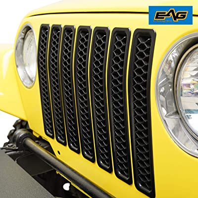 EAG Matte Black Clip-in Grille Honeycomb Insert Cover Fit for 97-06 Jeep Wrangler TJ LJ: Automotive