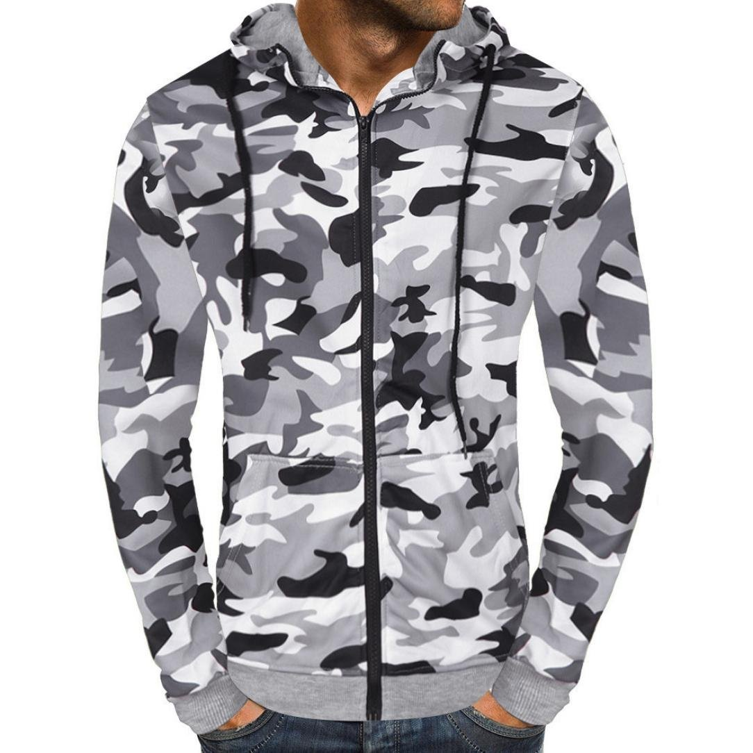 Clearance Men's Fashion Camouflage Zipper Hooded Sweatshirt - vermers Mens Casual Autumn Outwear Tops(2XL, White)