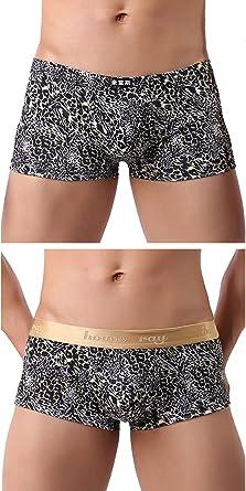 Men Trunks Leopard Boxers Briefs Underwear U Convex Panties Shorts Undies