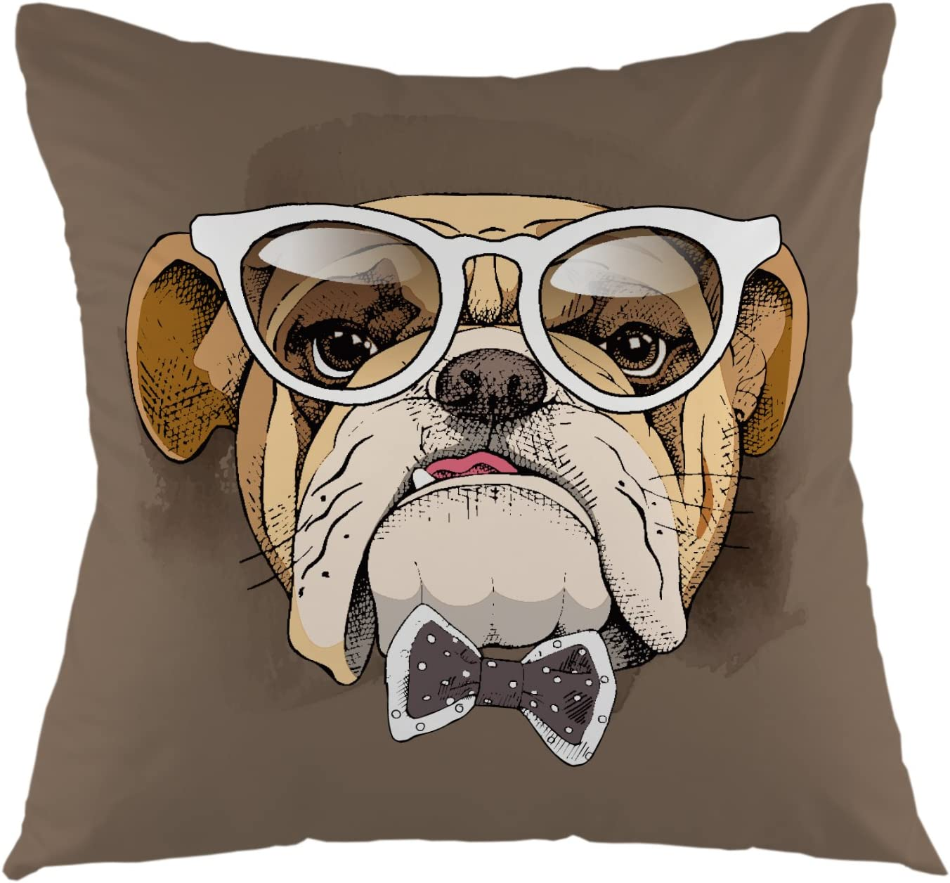 Amazon Com Ofloral Decorative Throw Pillow Cover Lovely Animal Pet Dogs Bulldog In Glasses Square Pillow Case Cushion Cover For Sofa Couch Home Bedroom Living Room Decoration 18 X 18 Inch Yellow White