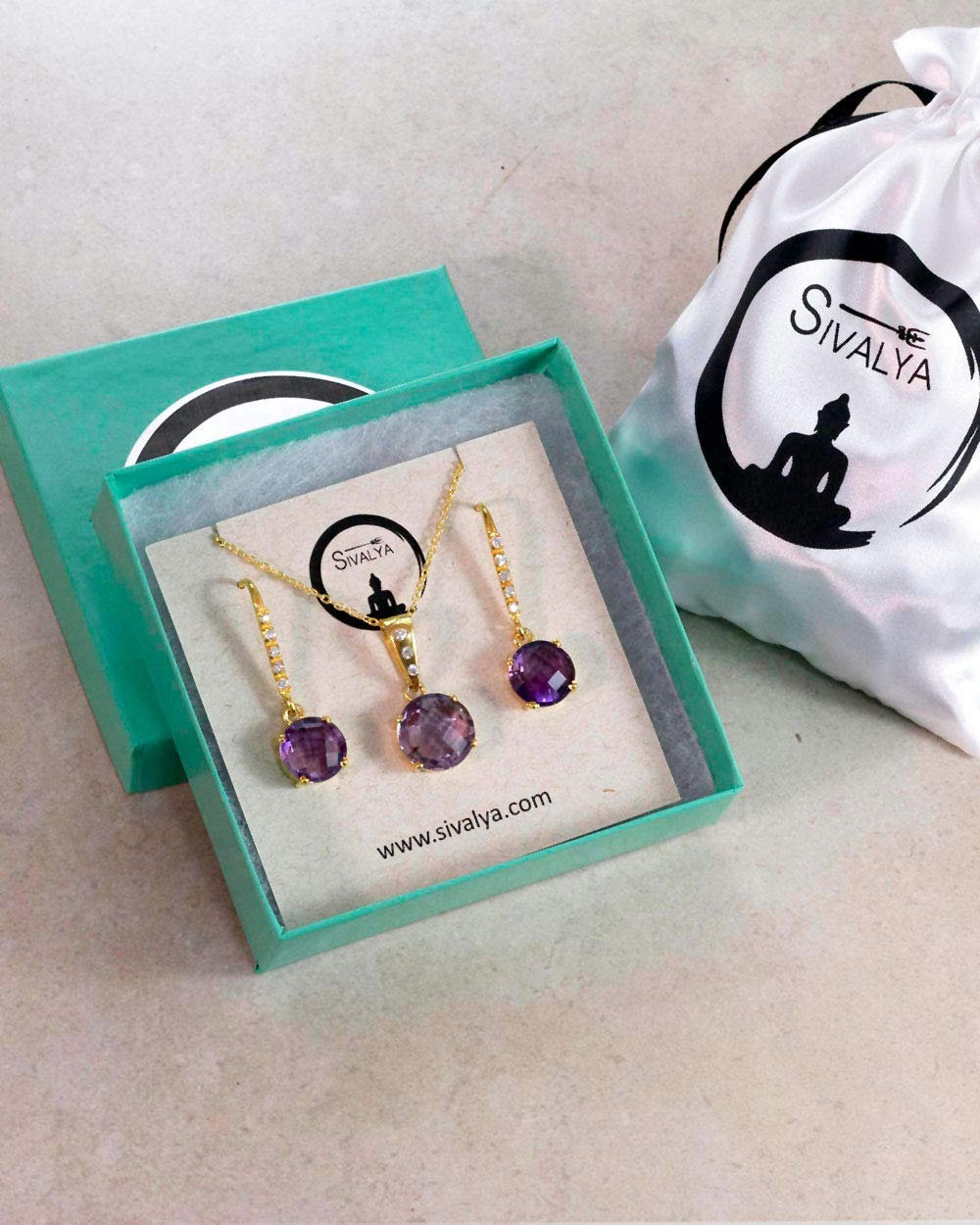 SIVALYA 925 Sterling Silver Amethyst Necklace and Earrings Jewelry Set in Gold Vermeil - Luxury Gift Packaging Included - Gift for Women