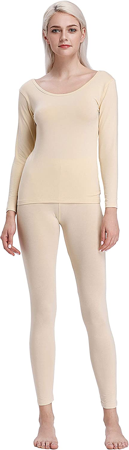 Liang Rou Crewneck Long Johns Modal & Cotton Thermal Underwear Top & Bottom Set for Women