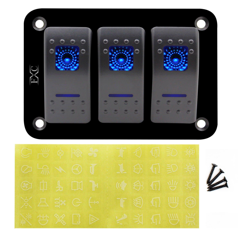 Semoic 12V-24V-3-Gang-Double-LED-Lumiere-Bascule-Commutateur-Panneau-Barre-Voiture-Caravane-Bateau-RV-Bleu
