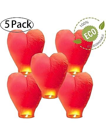 GCOA 5 Pack Linternas de Papel Farolillo celestiales Chinas - Linterna de Papel Resistente al Fuego