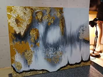 Orlco Art Modern Abstract Oil Painting Hand Painted Wall Art Gold Gray White Etc Buried Treasure 35x47inch With The Stretched