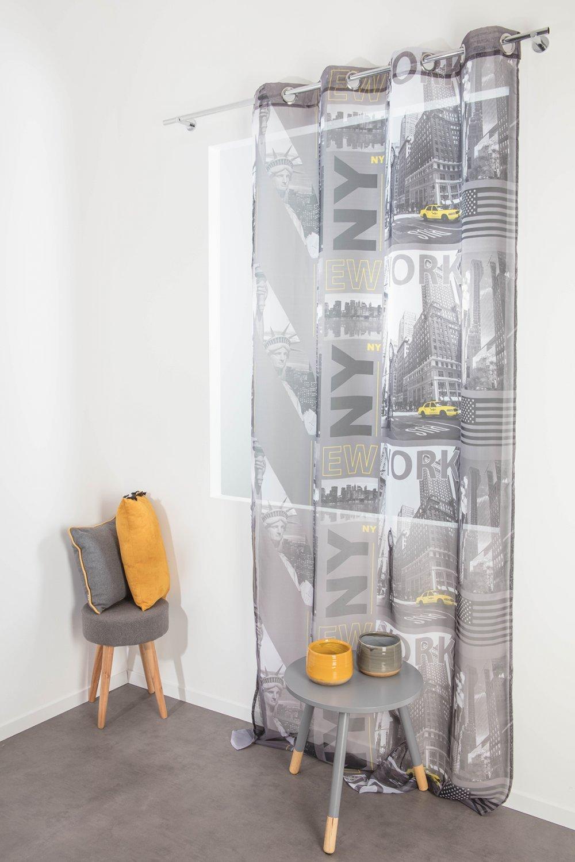 Voilage à Oeillets 135 x 260 cm Photoprint Motif Imprimé New York City RideauDiscount