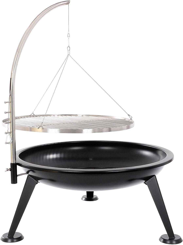 Dreibein Schwenkgrill mit Kurbel Rost 80 und Feuerschale 70x70 cm im Set Stahl