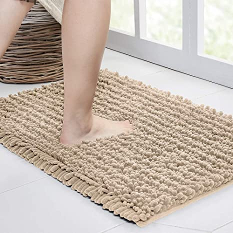 Amazon Com Walensee Bathroom Rug Non Slip Bath Mat 24x17 Inch Beige Water Absorbent Super Soft Shaggy Chenille Machine Washable Dry Extra Thick Perfect Absorbant Best Small Plush Carpet For Shower Floor Kitchen