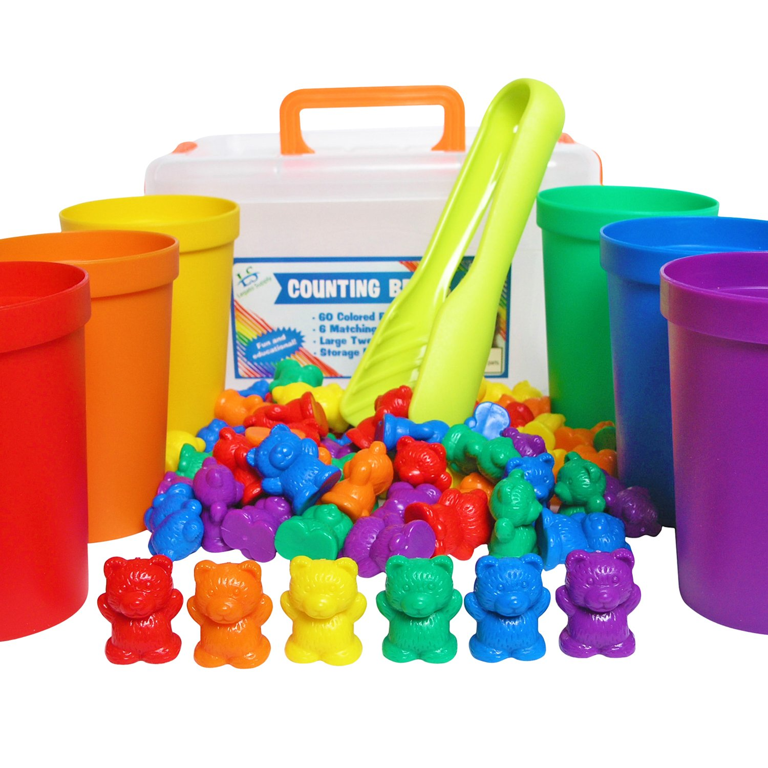 Legato Counting/Sorting Bears; 60 Rainbow Colored Bears, 6 Stacking Cups, Kids Tweezers, Storage Container, & Activity eBook! Quality Educational Toy, Good for STEM and Montessori Programs.