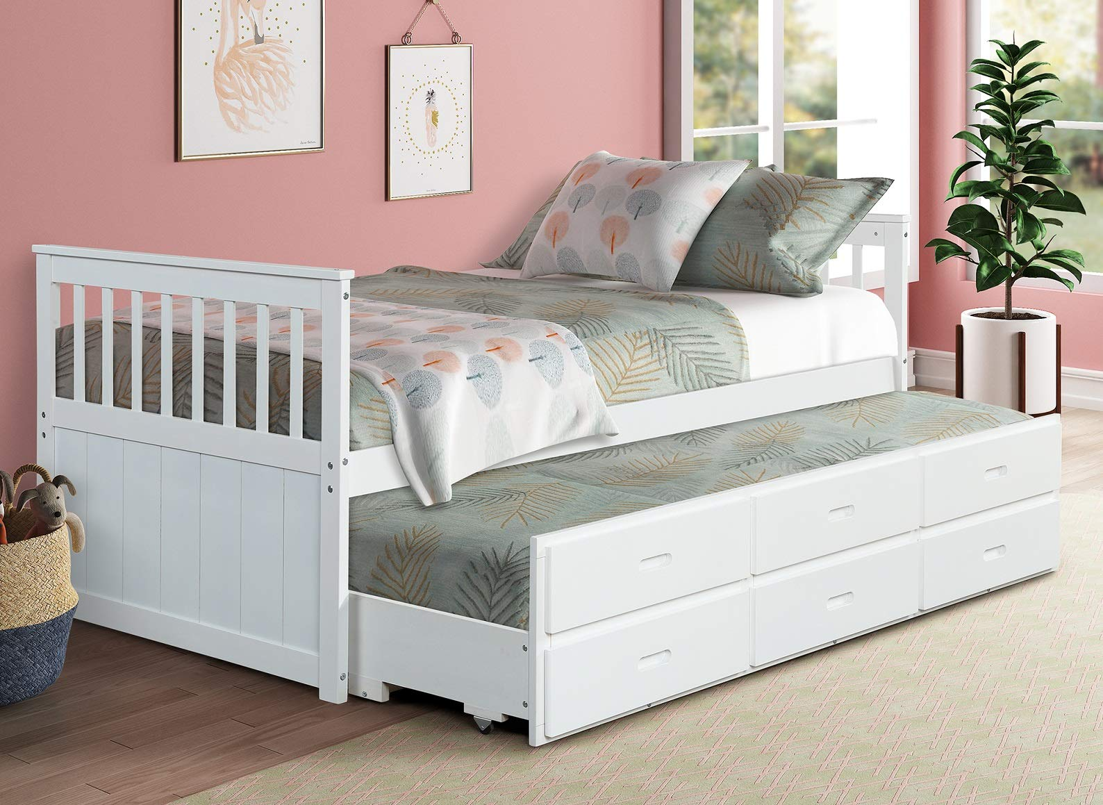 Twin Captain's Bed Storage daybed with Trundle and Drawers for Kids Guests (White) by Rhomtree