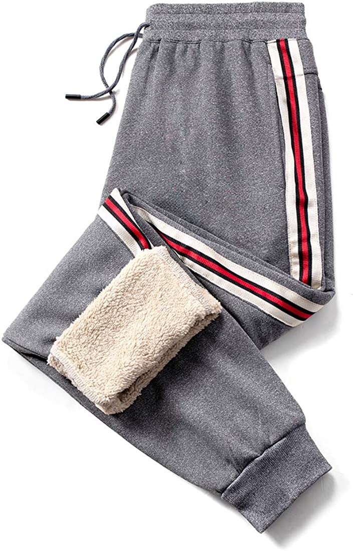 MANLUODANNI Mens Casual Fleece Jogger Sweatpants Men Winter Warm Plush Trousers