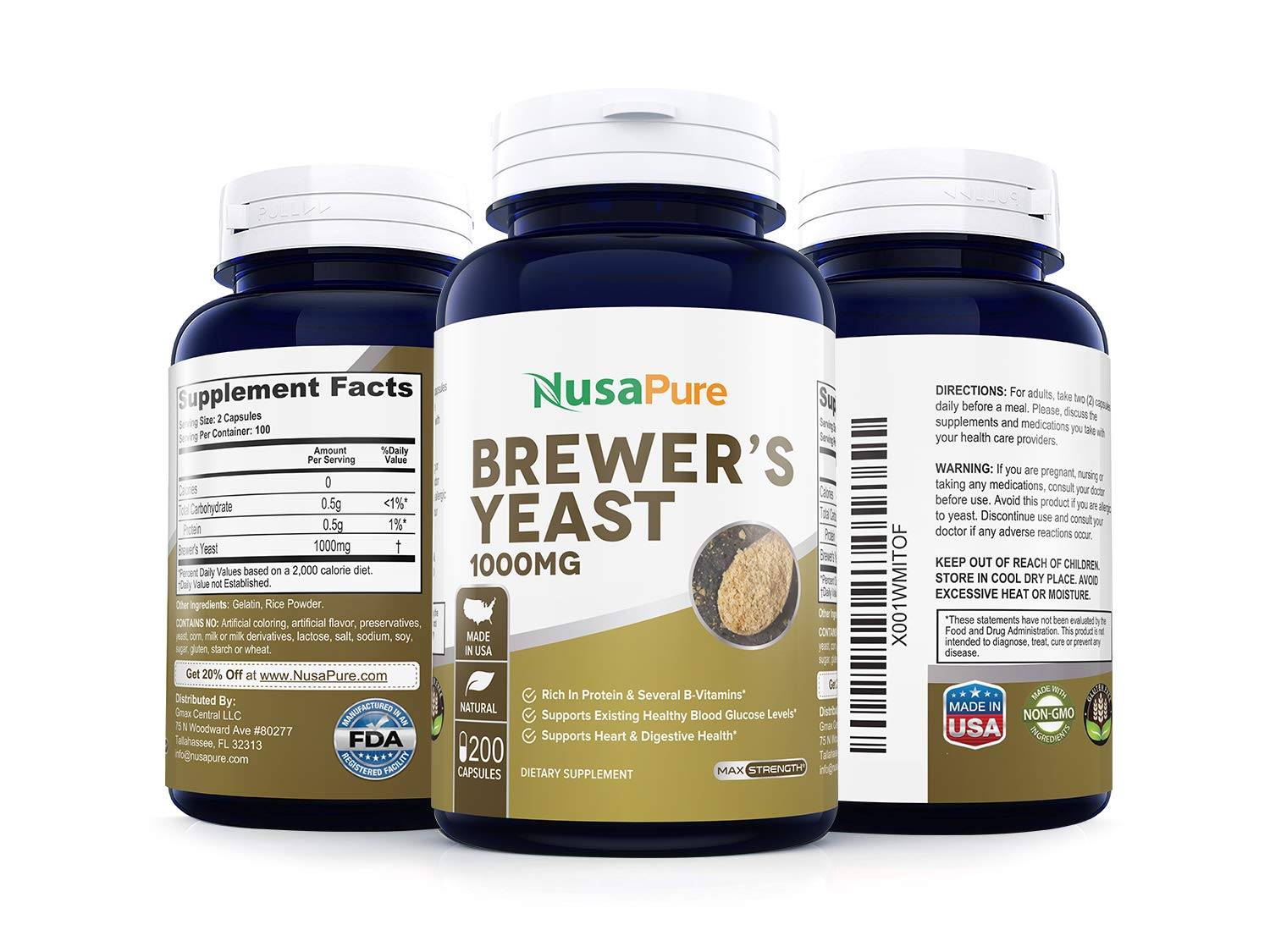 Brewers Yeast 1000mg 200caps (Non-GMO & Gluten Free) Supports Heart Health and Digestion