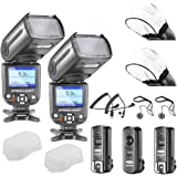 Neewer® NW-985N i-TTL-4-Farb-TFT-Bildschirm Display * Breitband-Sync * Kamera Slave Blitz Speedlite Kit für Nikon D50 D60 D70 D3S D70S D80 D80S D200 D300 D300S D700 D3000 D3100 D5000 D5100 D7000 und alle anderen Nikon DSLR-Kameras, umfasst: (2) NW985N i-TTL-Blitz für Nikon + (1) 2,4 GHz Funk-Auslöser (1 Sender, 2 Empfänger) + (2) Kabel (N1-Kabel + N3-Kabel) + (2) weiche Blitz-Diffusor + (2) Objektivdeckelhalter