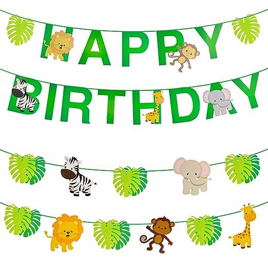 OOTSR 32 Piezas Animales de la Selva/Hojas/Feliz cumpleaños Banner, Fuentes Lindas del Partido para Las Fiestas de cumpleaños del Tema del Bosque de ...