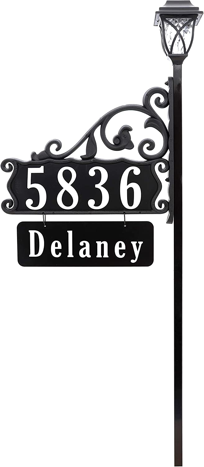 Address America Boardwalk Personalized Custom Double-Sided Reflective Home Address Sign for Yard with Name Rider Plaque for 911 Number Visibility and Solar Light Decorative Top (58