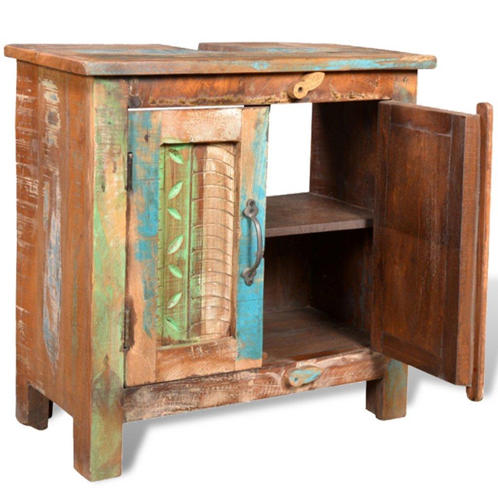 Reclaimed wood bathroom furniture - Reclaimed Solid Wood Bathroom Vanity Cabinet Set With Mirror Amazon Co Uk Kitchen Home