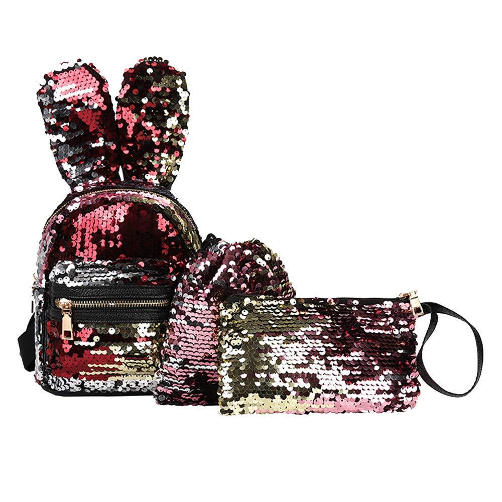Lomsarsh 3Pcs Student Children Sequins Bunny Ears Student Shoulder Backpacks+Drawstring Bag+Messenger Bag
